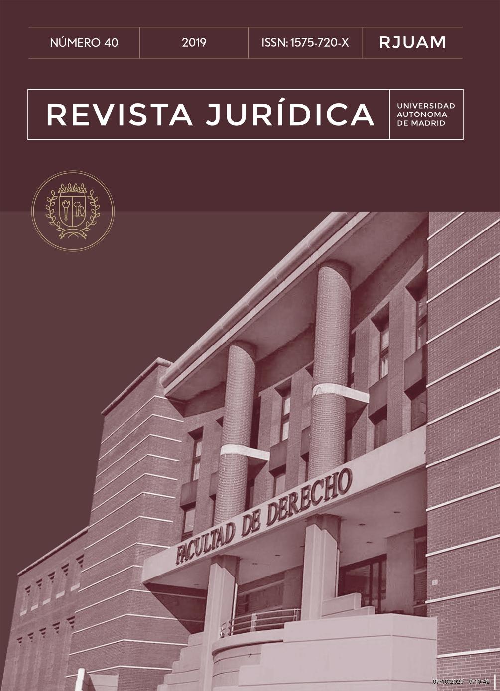Portada del número 40 de la Revista Jurídica de la Universidad Autónoma de Madrid