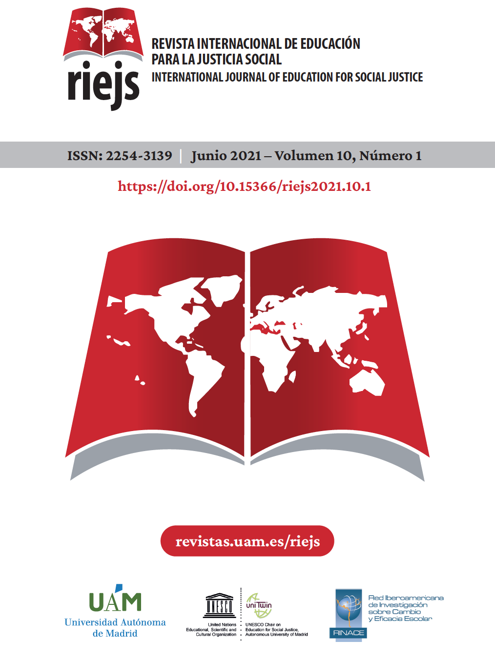 Portada del Volumn 10, número 1 de la Revista Internacional de Educación para la Justicia Social